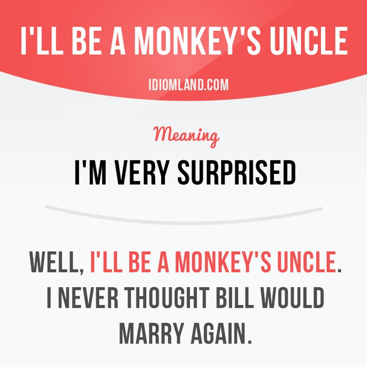 Will you be a monkey's uncle? :) #idiom #idioms #slang -         Repinned by Chesapeake College Adult Ed. We offer free classes on the Eastern Shore of MD to help you earn your GED - H.S. Diploma or Learn English (ESL).  www.Chesapeake.edu