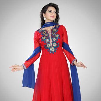 Red Viscose Georgette Readymade Anarkali Churidar Kameez