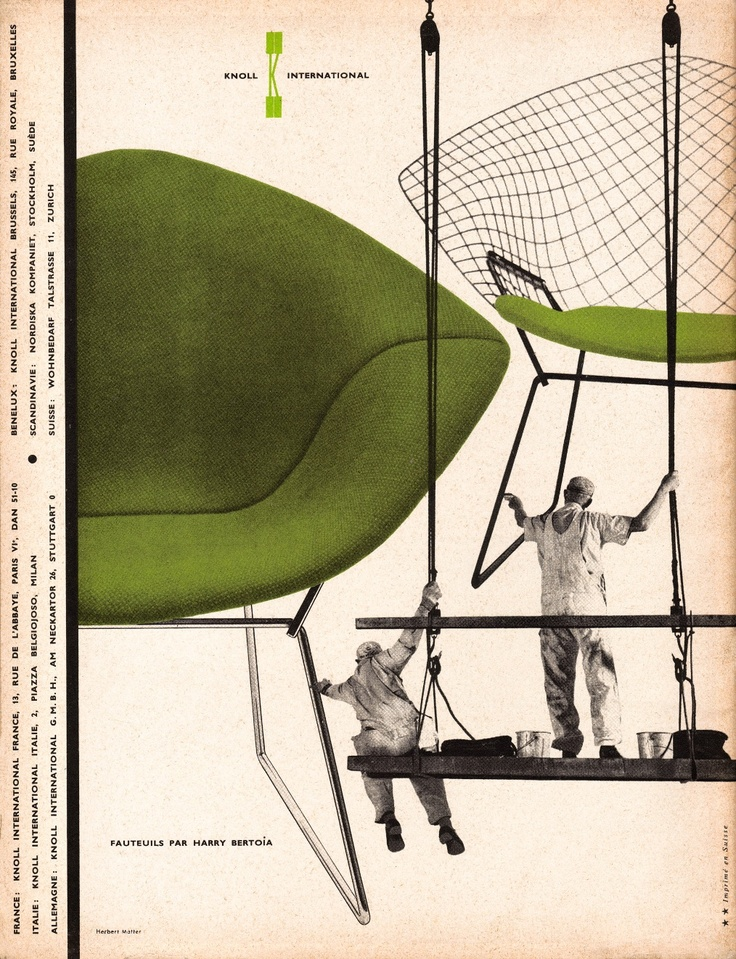 Harry Bertoia Diamond Chair. Knoll Ad 1957 by Herbert Matter, from L'Œil Magazine, March 1957.