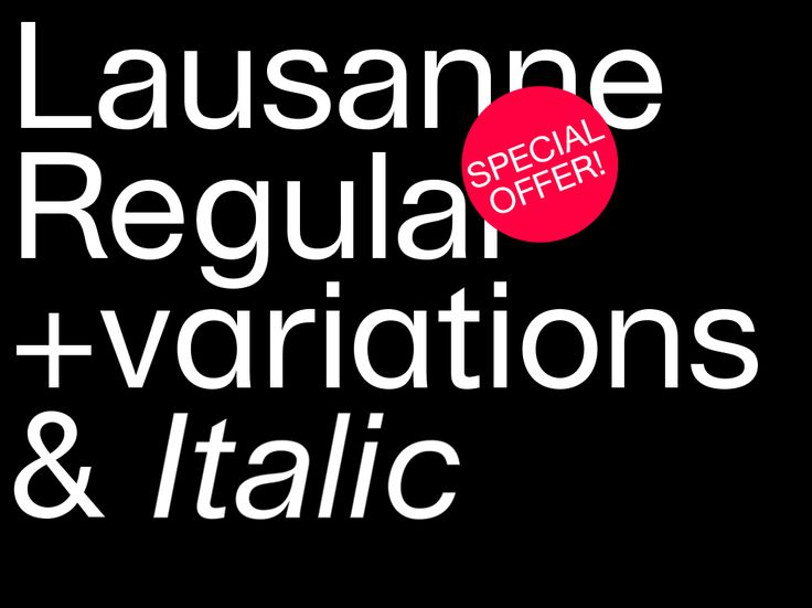 Lausanne Regular prerelease: Special offer! Considering that the type was not released yet, you get 20% off on the total and after a finalisation of the Italic version, it will be send to you for free, included in your license! You will also benefit...