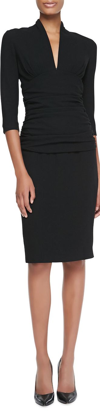 Etro Ruched-Waist Elbow-Sleeve Dress LOOKandLOVEwithLOLO: Dress for Success