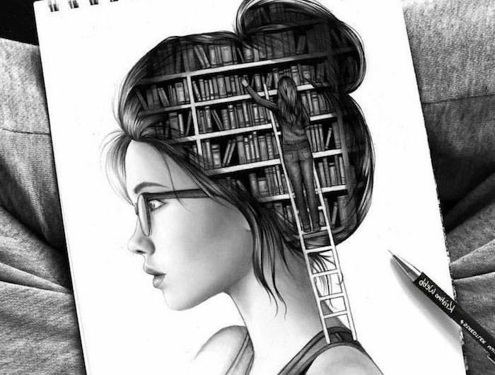 Art Drawings Tumblr – Schöne Zeichnung, Mädchen mit Brille und Dutt Frisur, de…