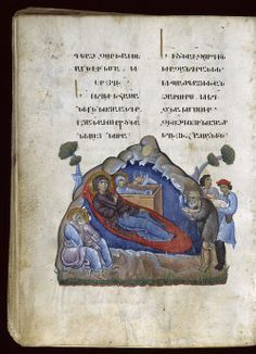 Nativity, Toros Roslin Gospels, Armenia, 1262 Paint, ink and gold on parchment…