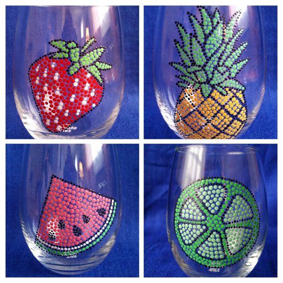 Set of Four; Tropical Wine Glasses; Summer Wine Glass; Fruit Wine Glass; Summertime