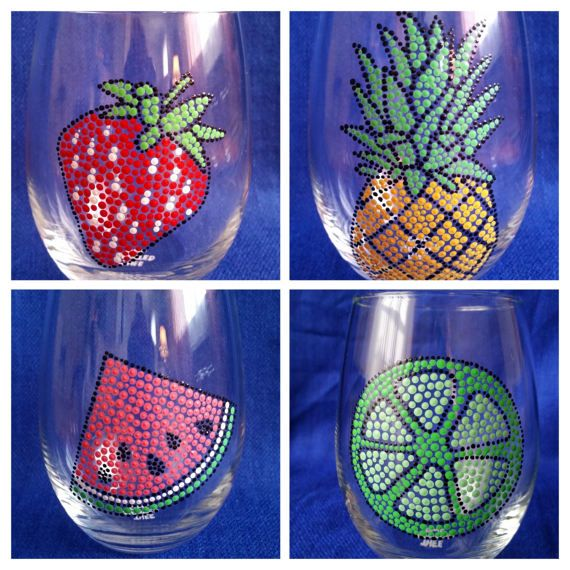 Set of Four; Tropical Wine Glasses; Summer Wine Glass; Fruit Wine Glass; Summertime