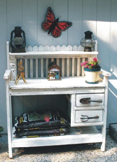 Gardening Bench combine this with the fence gate on the back, but have storage underneath.  I like the tools as drawer pulls too!