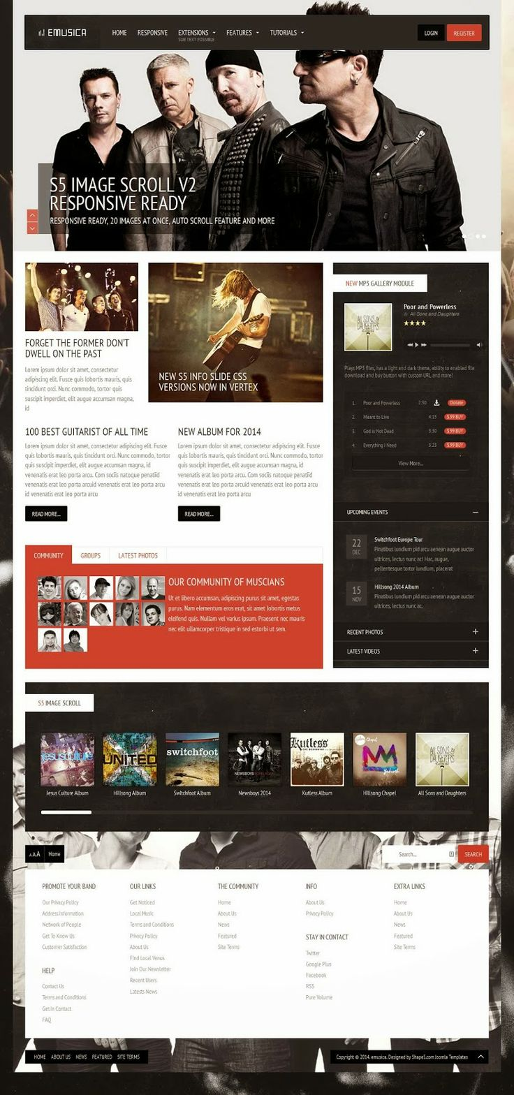 If you are looking to revamp your band's website or start a social music community Emusica is the design for you! The beautiful design is packed with features! We introduce our NEW MP3 HTML5 Gallery Module, S5 Image Scoller version 2 which is now responsive and a NEW full width menu option for the s5 flex menu. In addition to these features we've updated the info slide portion of Vertex to now include a CSS only version. The new CSS version has several new display styles available!