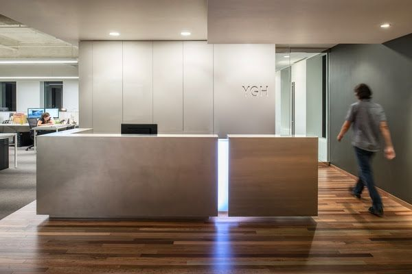 Yost Grube Hall Architecture stainless steel reception desk