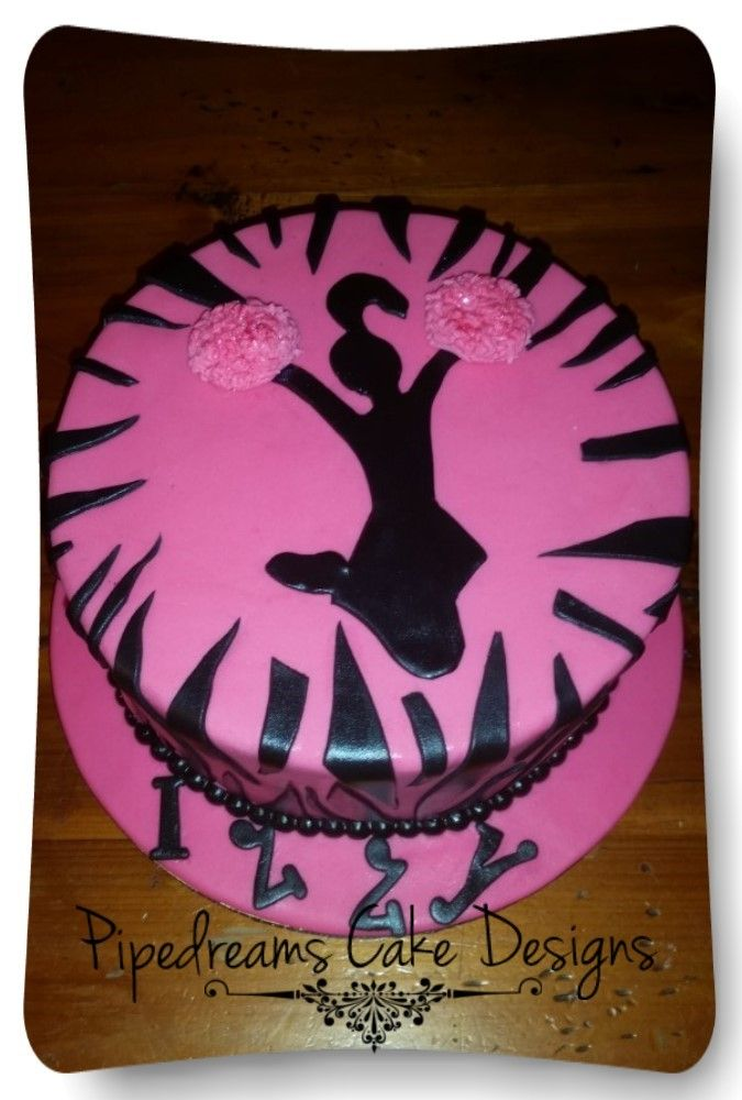 Hot pink and black zebra stripes. With Cheer leading silhouette and pom poms.
