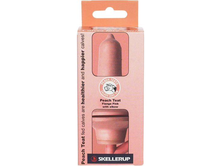Calf Bucket & Gravity Feeder Flange Pull Through Teat with Elbow Pink