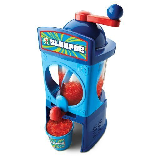 Slurpee Maker by Slurpee Maker. $26.30. Use your favorite juice or soda to create great flavors. Just like the real thing. Ready to use right out of the box. Contains: 1 Slurpee Maker, 2 Cups, 2 Straws and 1 User Instruction Guide. No batteries / refills required. Amazon.com                The Umagine 7-Eleven Slurpee Drink Maker lets you enjoy cool and refreshing Slurpees any time you like from your own kitchen. This fun and easy-to-use drink maker uses your favor...