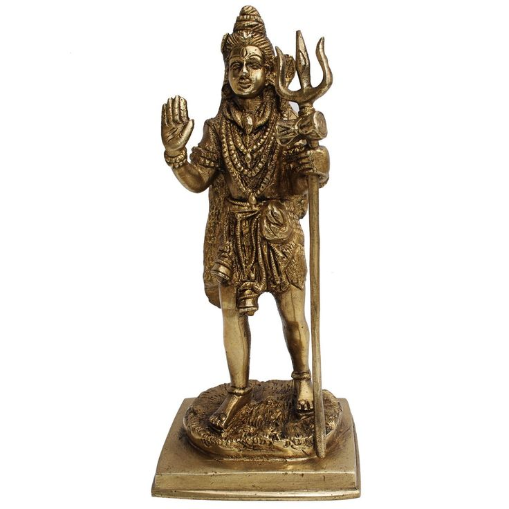 Standing Shiva Worship Statue with Trident Handmade Brass Sculpture: Amazon.co.uk: Kitchen & Home