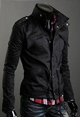 Amazon   (クーティー) Coottie ミリタリー ジャケット メンズ 長袖 アウター 男性用 (01.黒色(M))   コート・ジャケット 通販