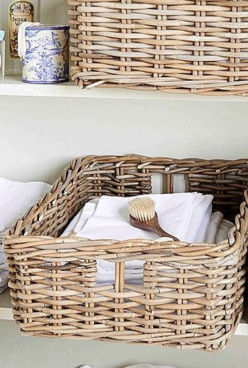 Made from rustic, chunky rattan with a stylish grey tint these new Rectangular Rattan Baskets will be a great addition to your home.