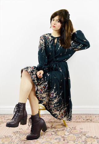 70s+black+boho+long+sleeved+peasant+dress