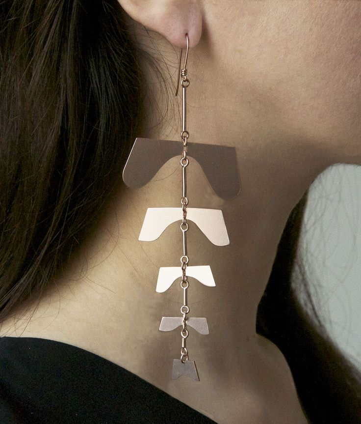 Angiosperm mobile earring in rose gold plate from Botany collection by Sian Evans