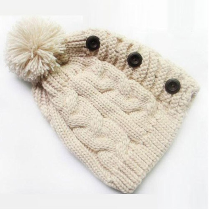 Plain Button Knitted Hat