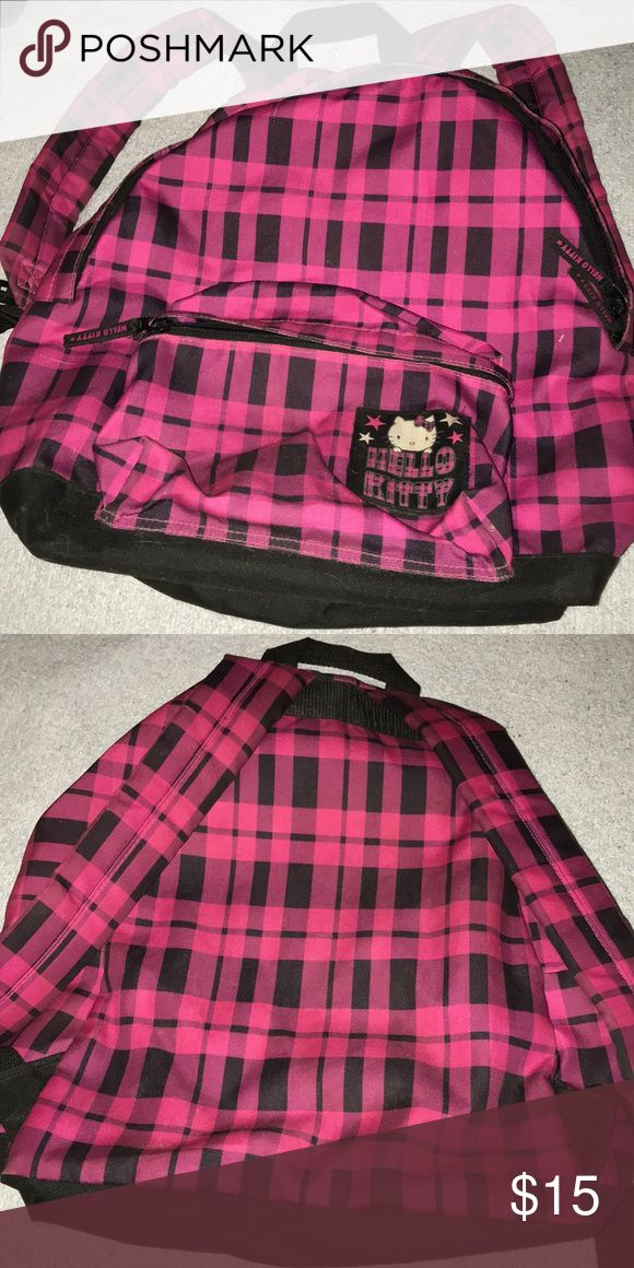 Hello Kitty Backpack Pink and black plaid hello kitty backpack. Willing to consider reasonable offers.  Sorry, no trades at the moment. Hello Kitty Bags Backpacks