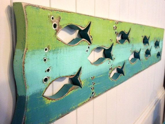 Wood School of Fish Art Sign Panel Horizontal Sea Glass or Driftwood Colours…
