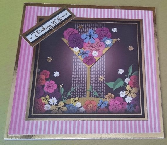 Handmade 5 x 5 Square Greeting Card  Thinking of You by BavsCrafts