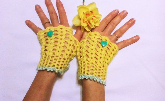 Sunny yellow crochet gloves fashion gloves hand by HandmadeTrend, $18.00