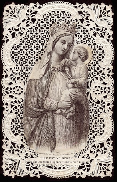 Vintage Mother Mary and Jesus on a Bakery Paper with Lace Cut.