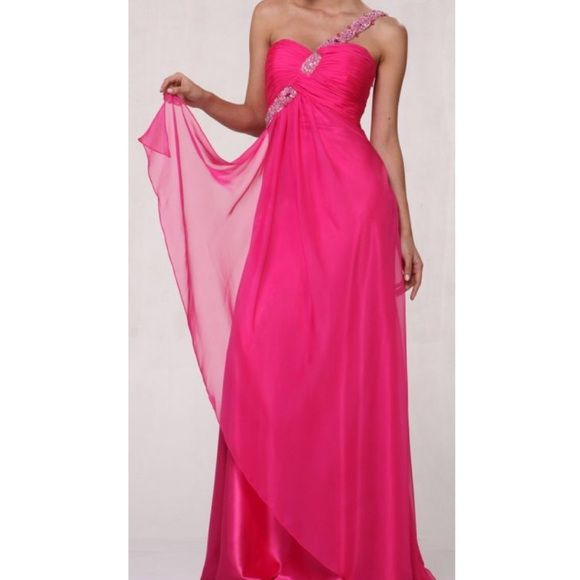 Hot Pink Full Length Dress Beaded full length dress. Size 8. Hot pink and silver. Worn once. Tulle material. Missing some beads but not very noticeable. Prom dress. No trades. Dresses Maxi