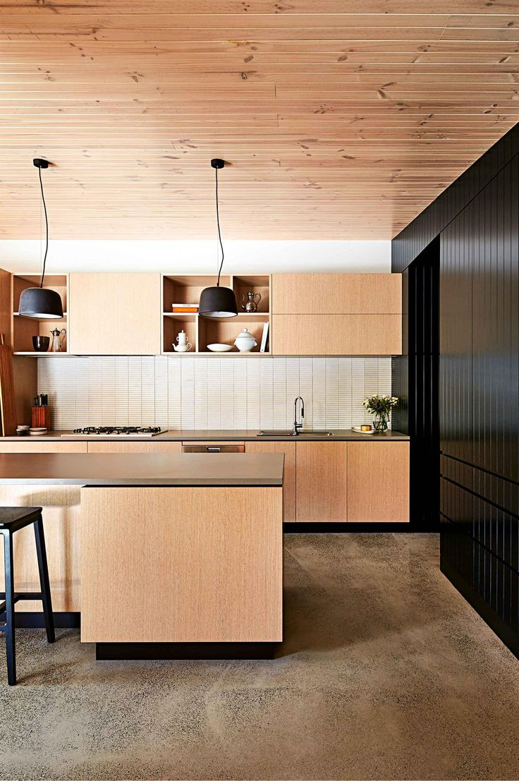 Cosmo condo kitchen showroom paris kitchens toronto - Kitchen Modern Timber Panelling Polished Concrete Aug15