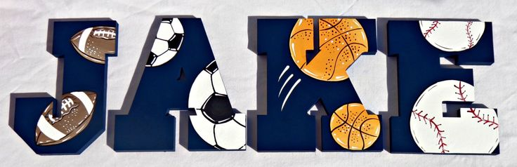 Sports Ball Collage Over Navy Painted Wall Letters - Football, Soccer, Basketball and Baseball Letters by TheFairyPaintbox on Etsy