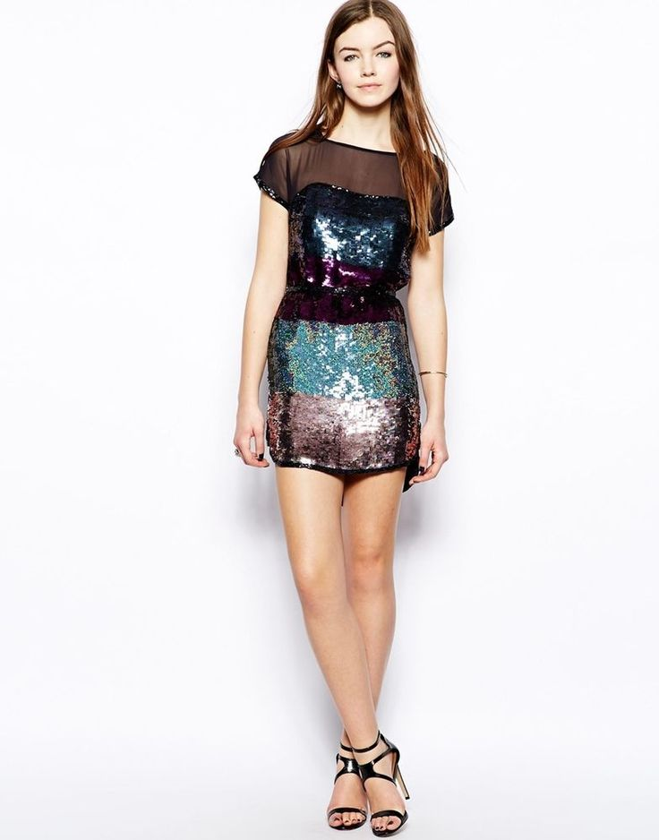 French Connection Roka Full Sequin Embellished Show Tank Tunic Dress  UK 14 - 42