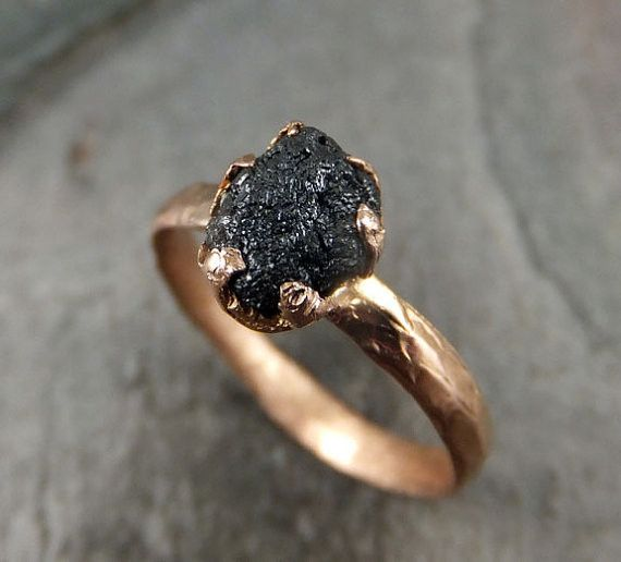 Raw Diamond Solitaire Engagement Ring Rough Uncut gemstone Rose gold Conflict Free Black Diamond Wedding Promise by Angeline