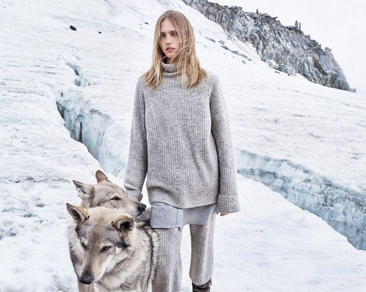 Саша Пивоварова у подножия Монблана с тремя волками для Mango | Мода | Новости | VOGUE