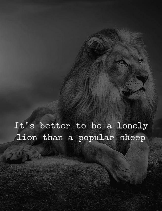 Its Better To Be A Lonely Lion Than Popular Sheep