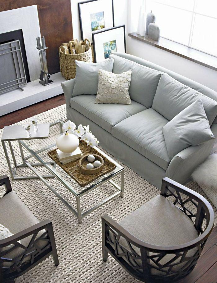 Wohnzimmer Einrichtung Hellgraues Sofa Couchtisch