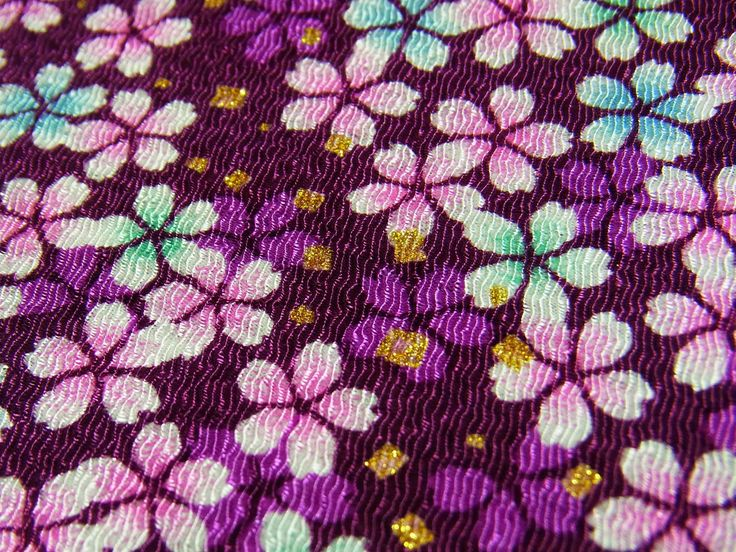 Unique kimono fabric chirimen Purple cherry blossom Gold Metallic Glitters by chirimenbunny on Etsy
