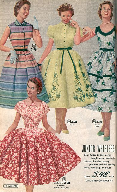 Aldens 1954 vintage fashion photo print ad models dress day casual party full skirt yellow floral white black lavender purple green stripe red drop waist sundress puff sleeves 50s era mid