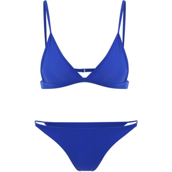 Unlined Plunge Bikini Top And Thong Bottoms Blue (37 BRL) ❤ liked on Polyvore featuring swimwear, bikinis, blue bikini, blue swimwear, blue bikini top, bikini swimwear and blue tankini top