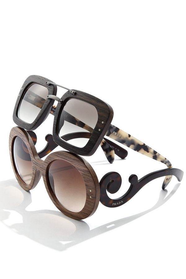 Prada Barroco Wood ♥ #oculos #madeira #prada #wood #barroco #baroque #redondo #raw #pradaraw #oticaswanny