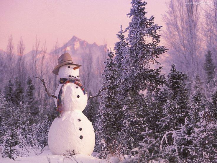 Bałwan, Śnieg, Zima, Choinka