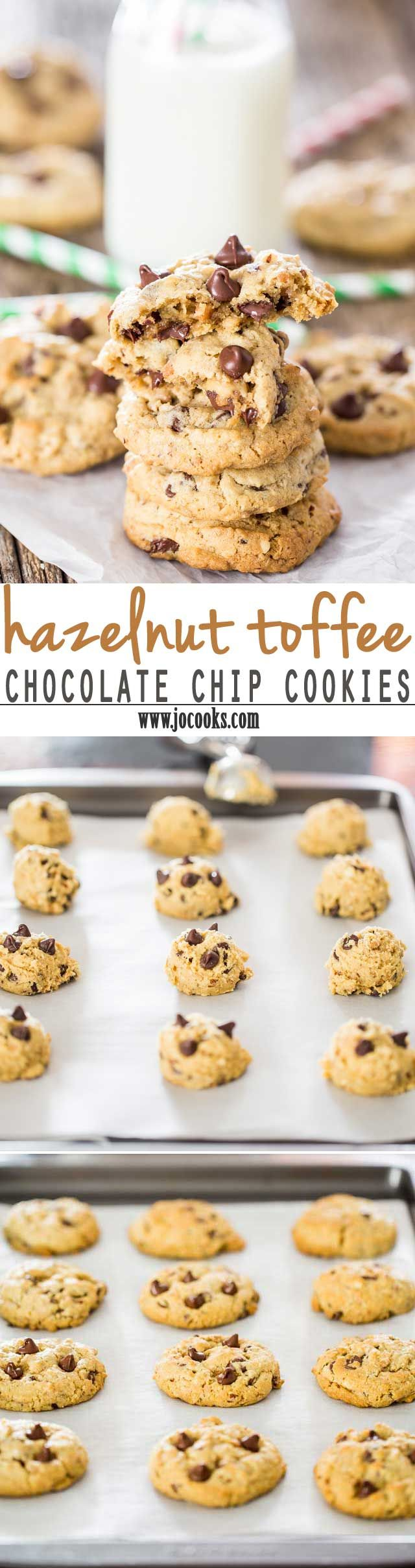 Hazelnut Toffee Chocolate Chip Cookies - delicious rich chocolate chip cookies loaded with hazelnuts and toffee bits. Totally irresistible and perfectly chewy cookies.