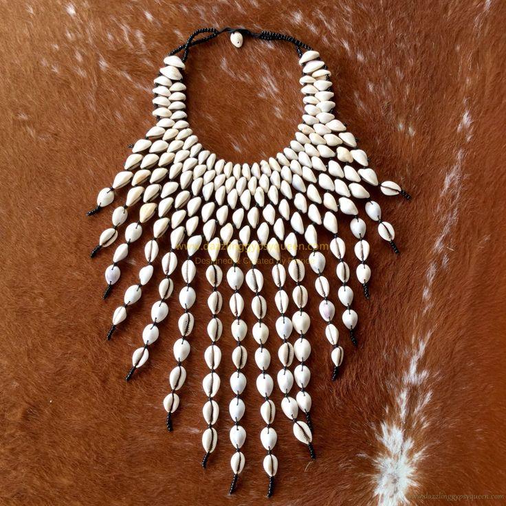 African Bohemian necklace with original vintage Cowrie shells - Bohemian jewelry & African jewelry by DazzlingGypsyQueen on Etsy