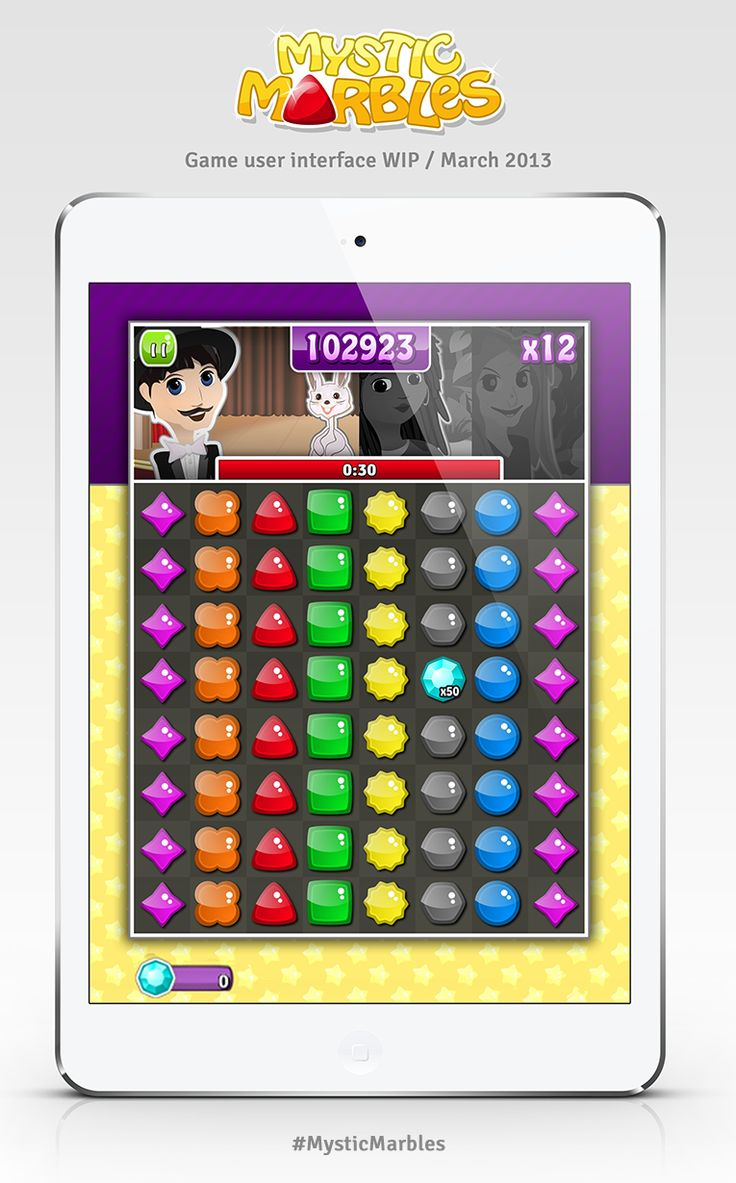 Mystic Marbles game user interface WIP (March 2013) #MysticMarbles #iPhone #iPad #Android #Game