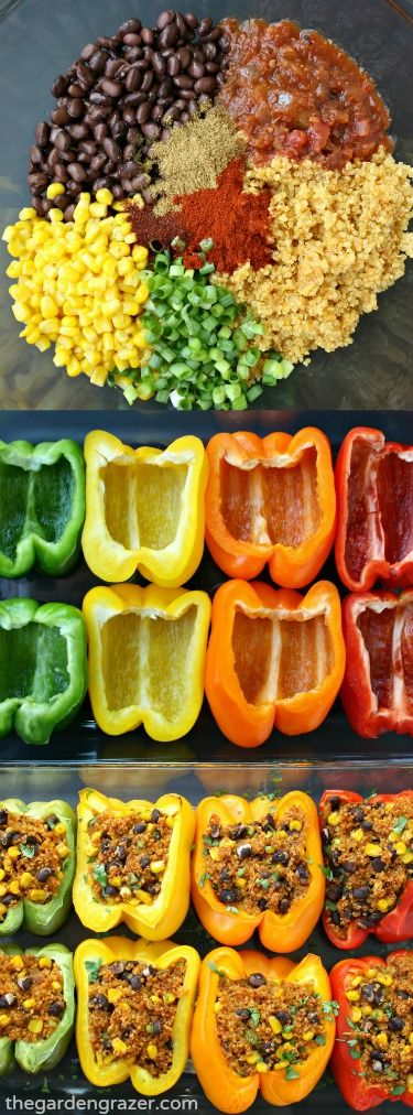 Super easy and SO GOOD! Flavorful fiesta quinoa is stuffed into these pretty pepper packages for an awesome weeknight meal. Love to top it with some guac! | thegardengrazer.com | #vegan #gf