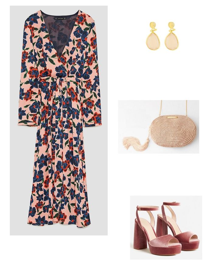 Time for Fashion.  Nude floral print midi dress+pink velvet ankle strap heeled sandals+pink raffia clutch+pink and gold earrings. Late Summer Evening Wedding Guest Outfit 2017