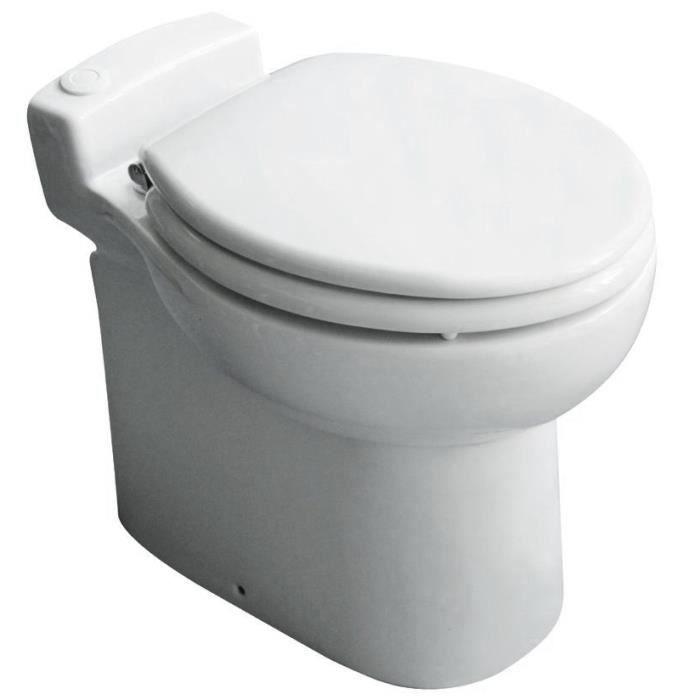 WC à turbo-broyage Turboflush - Système double-chasse - Abattant à frein de chute - Cuvette traitée anti-calcaire - Evacuation à l'horizontale jusqu'à 30m ou à la verticale vers le haut jusqu'à 3m - Dimensions (LxPxH) 370x500x460mm