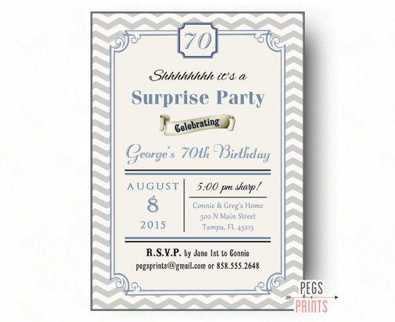 Je conçois ♥ vous imprimer ================ Si vous jetez une fête danniversaire Surprise, puis donner à vos invités un régal avec cette Invitation de partie de Surprise Chevron bleu. Cette invitation peut être personnalisée pour anniversaires non-surprise, douches nuptiales, douches de bébé, etc.. Découvrez mes autres Invitations danniversaire Surprise www.etsy.com/shop/pegsprints/search?search_...