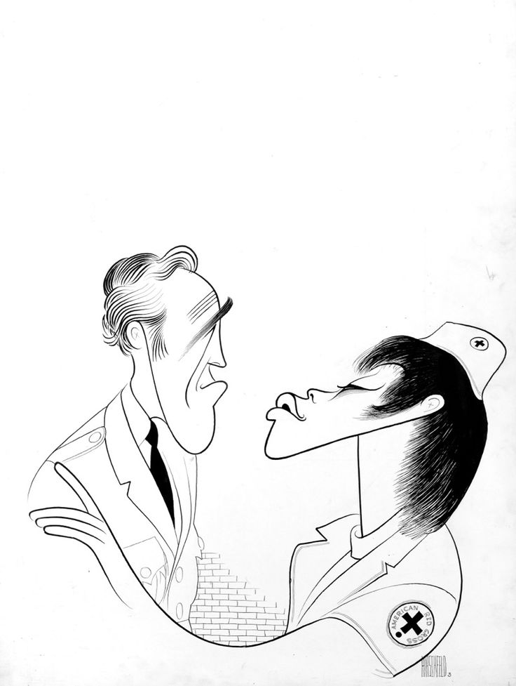 "Al Hirschfeld ~ Jason Robards, Jr. and Diana Sands in ""We Bombed in New Haven"" - ChrisBeetlesGallery"