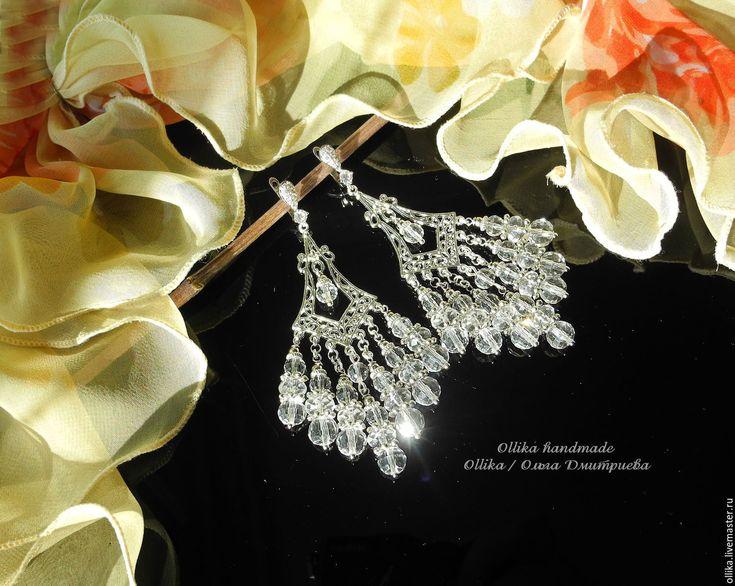 Купить серьги Хрусталь прозрачные серьги, с подвесками длинные серьги - вечернее украшение, серьги с подвесками