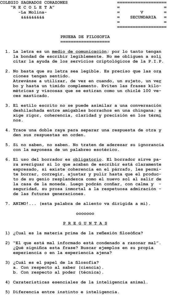 Esta prueba la elaboró el P. Hubert Lanssiersen la década de los 60 cuando era profesor de filosofía (Colegio Sagrados Corazones, Lima-Perú). Un análisis de la misma nos muestra más recomendacione...