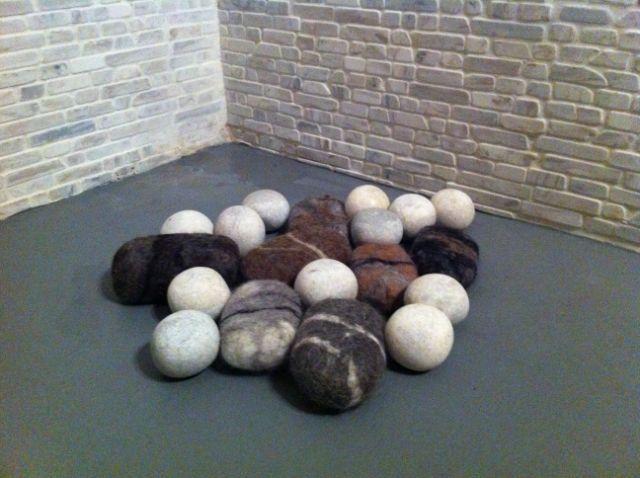 Felt soaps and pebbles. By Elena Kyriakarakou.